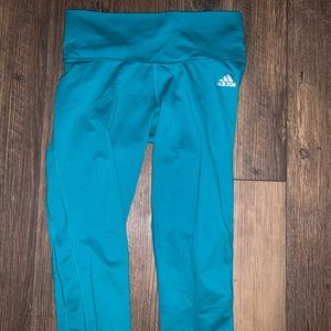 Green/Blue Cropped Adidas Tights